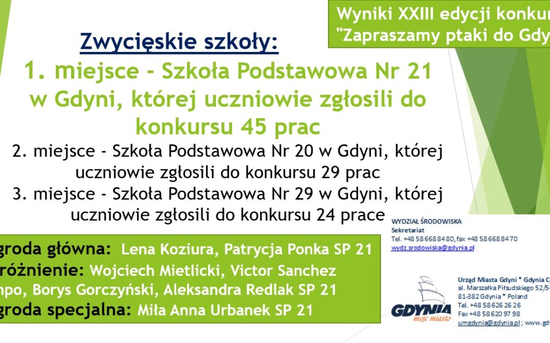 """Wyniki XXIII edycji konkursu """"Zapraszamy ptaki do Gdyni"""""""